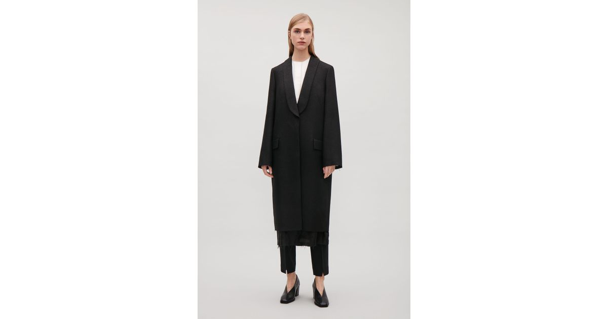 Lyst - COS Shawl-collar Coat in Black 447c0139fbf7