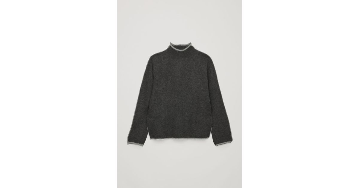 bf5a29471fed COS Trimmed Boiled-wool Jumper in Gray - Lyst