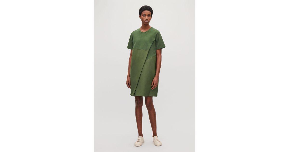 a7e5c955f977 COS Poplin-panelled Jersey Dress in Green - Lyst