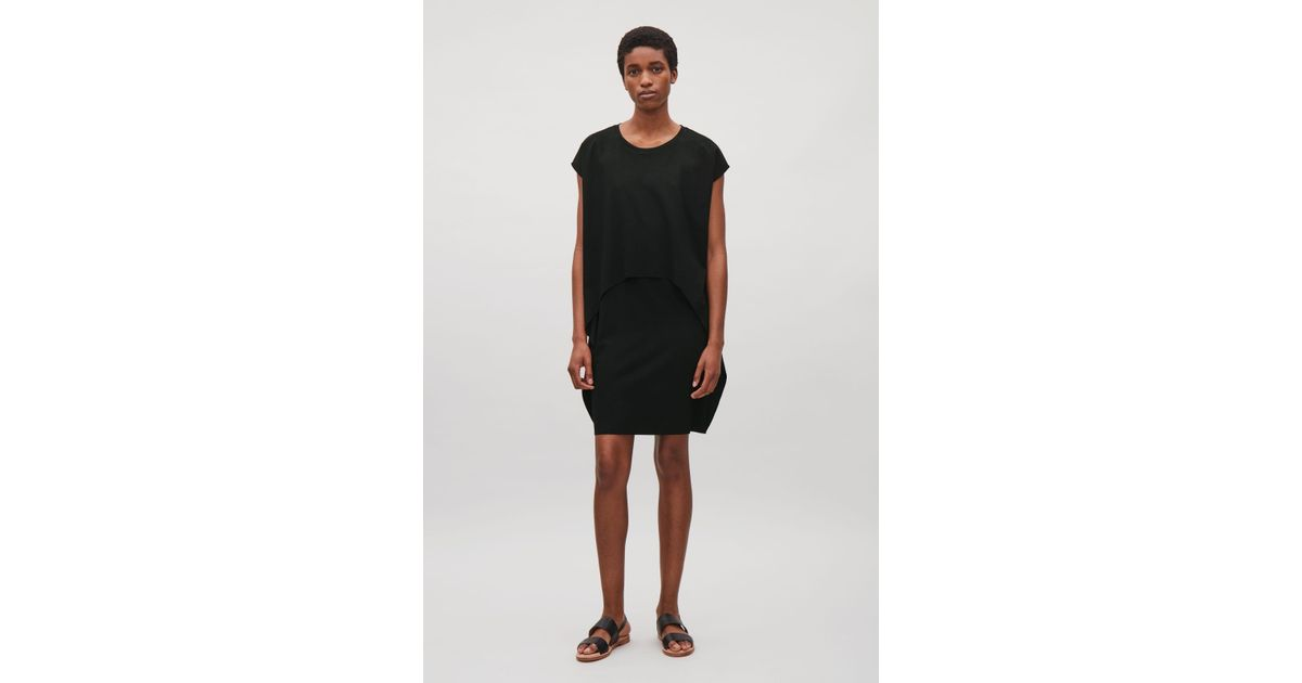 0b52787bf291 COS Layered Short-sleeve Dress in Black - Lyst
