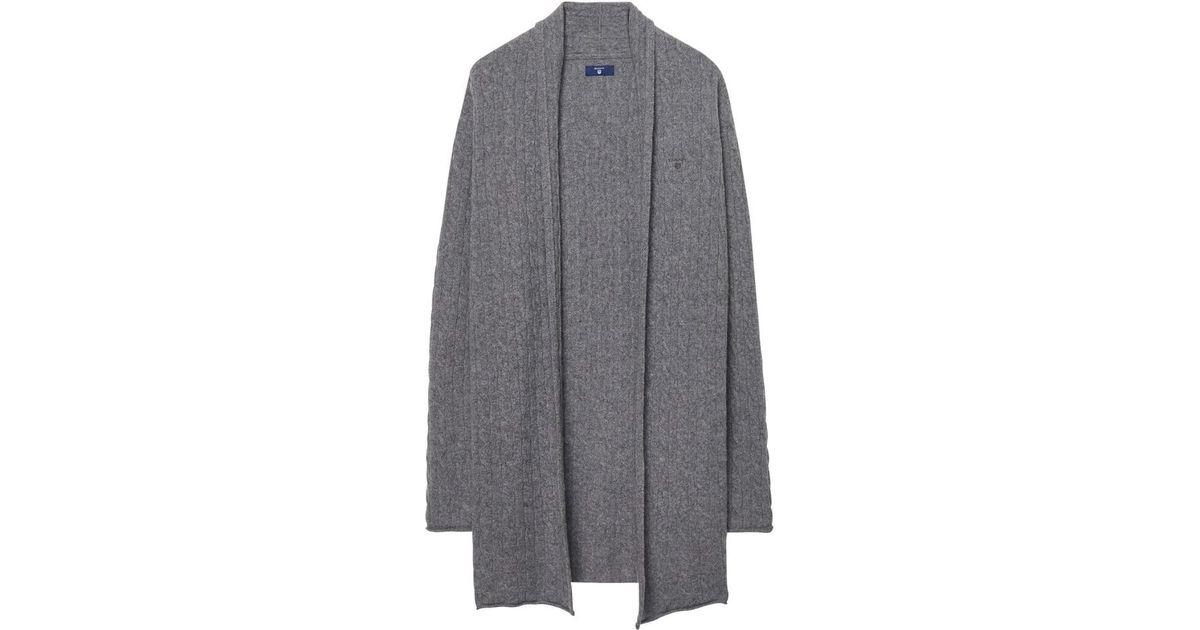 411e103d22 GANT Cable Wrap Ladies Cardigan in Gray - Lyst