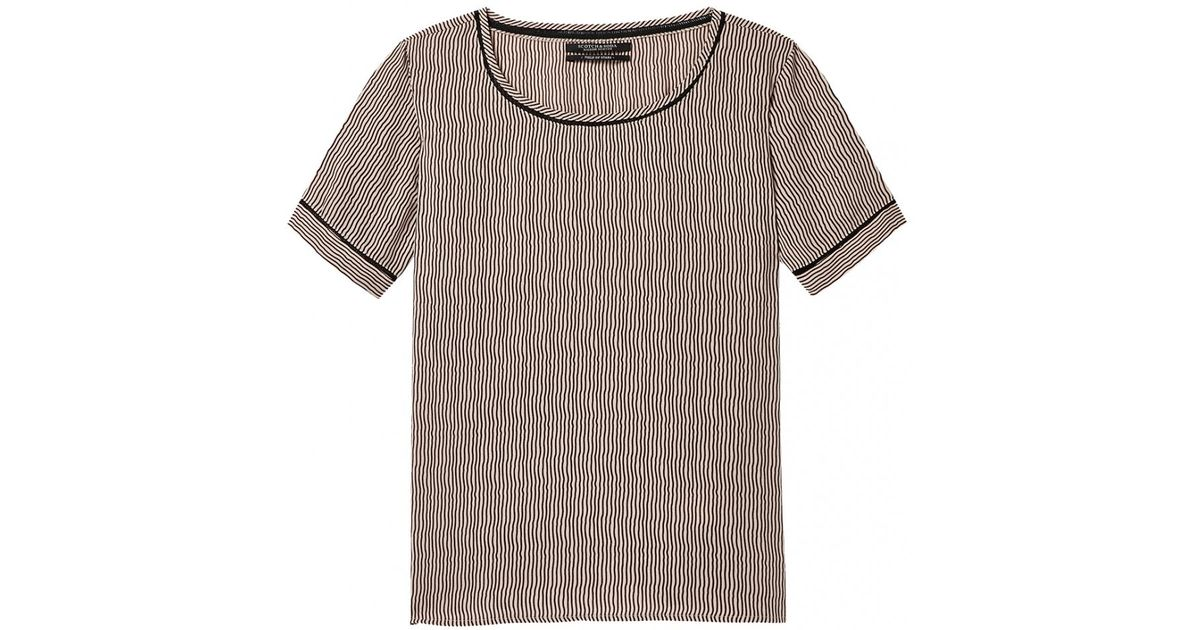 56ade1173f5c2e Lyst - Maison Scotch Short Sleeve Ladder Inserts Womens Printed Top in Gray