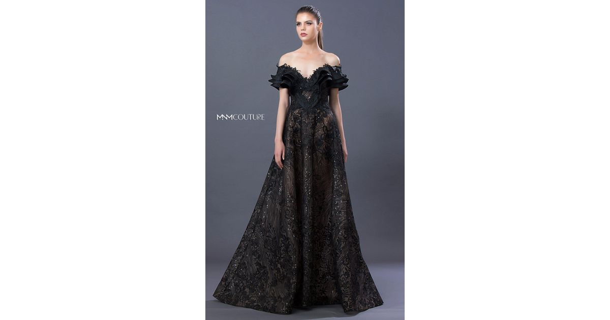 Mnm Couture K3634 Embellished Ruffled Off-shoulder