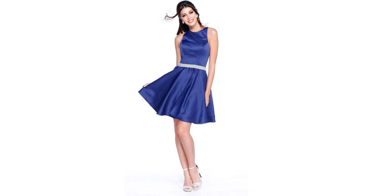 3acbab46c8 Lyst - Shail K Jeweled Waist Sleeveless Short Dress 4018 in Blue