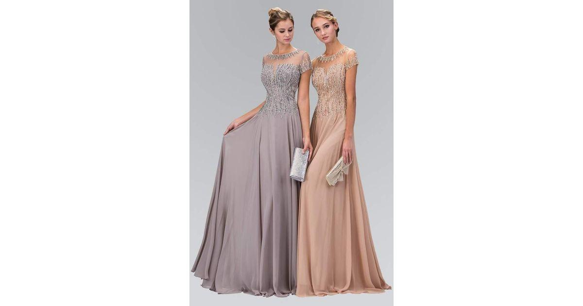 3a58eb69f Lyst - Mon Cheri Elizabeth K Beaded Trellis Illusion Chiffon A-line Gown  Gl2126 in Pink
