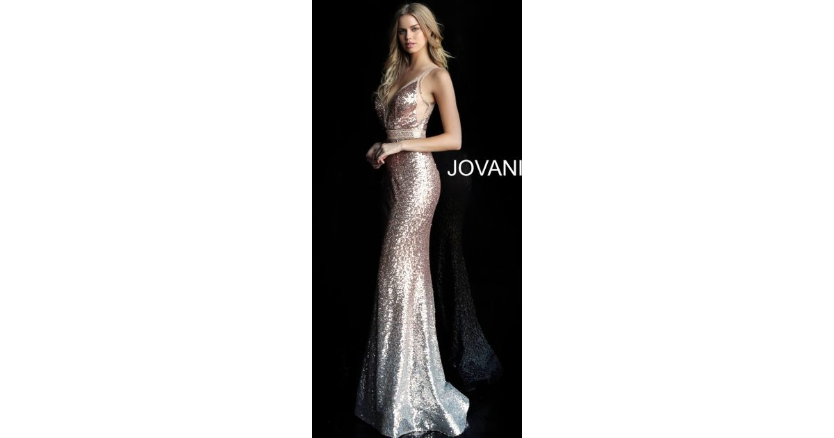 18ee6366fa5 Jovani 63439 Gradient Sequined Illusion Mermaid Gown in Black - Lyst