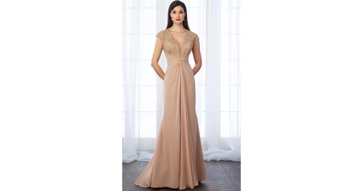 394c08ae Lyst - Mon Cheri Laced Deep V-neck Sheath Dress 217648 - 1 Pc Charcoal And  1 Pc Champagne In Size 16 Available in Brown - Save 40%