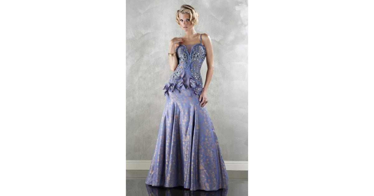 b0a026c6fdeb Lyst - Mnm Couture 8641 Floral Square Neck A-line Dress in Blue