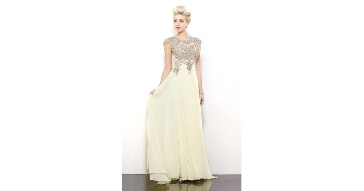 Lyst shail k glistening lace applique top chiffon long gown
