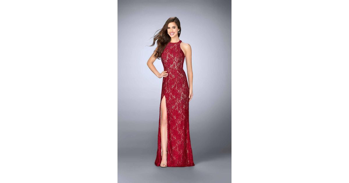 d6a6838fc0d3 Lyst - La Femme 23708 Classy High Halter Lace Long Evening Gown With Side  Slit in Red