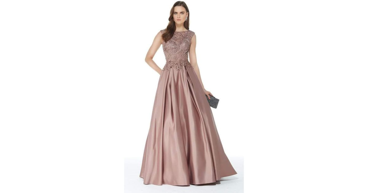 32ea3189 Alyce Paris 27010 Beaded Lace Top Satin Pleated Ballgown - 1 Pc Burgundy In  Size 8 | 1 Pc Rose Taupe In Size 16 Available in Pink - Lyst