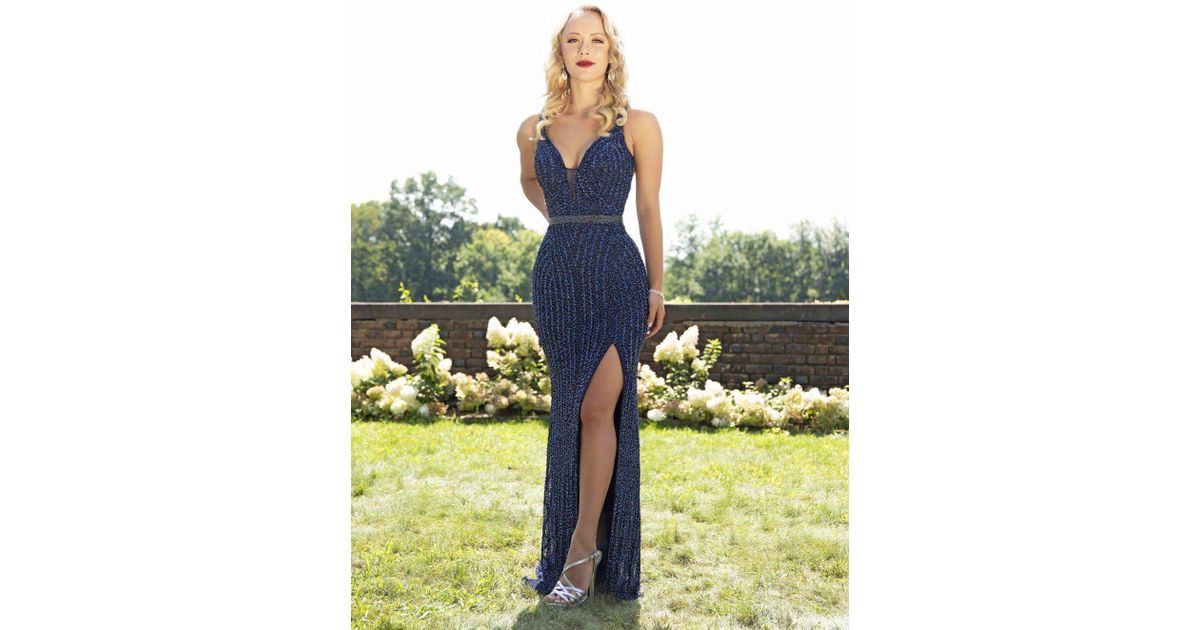 1b2acde4d02d Lyst - Primavera Couture 3246 Embellished Deep V-neck Fitted Dress in Blue