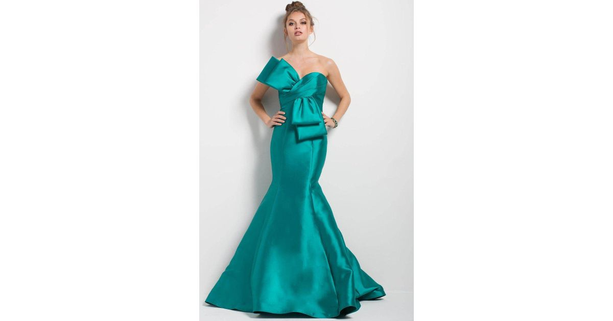 04d891f6968 Lyst - Jovani 51662 Oversized Bow Ornate Strapless Mermaid Gown - 1 Pc Green  In Size 8 Available in Green