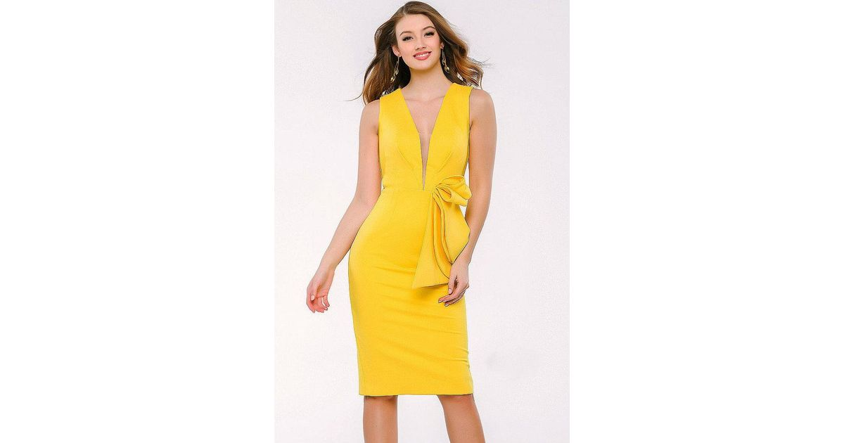 e4e1542008 Jovani Plunging V-neck Ponte Knit Sheath Cocktail Dress 35051 in Yellow -  Lyst