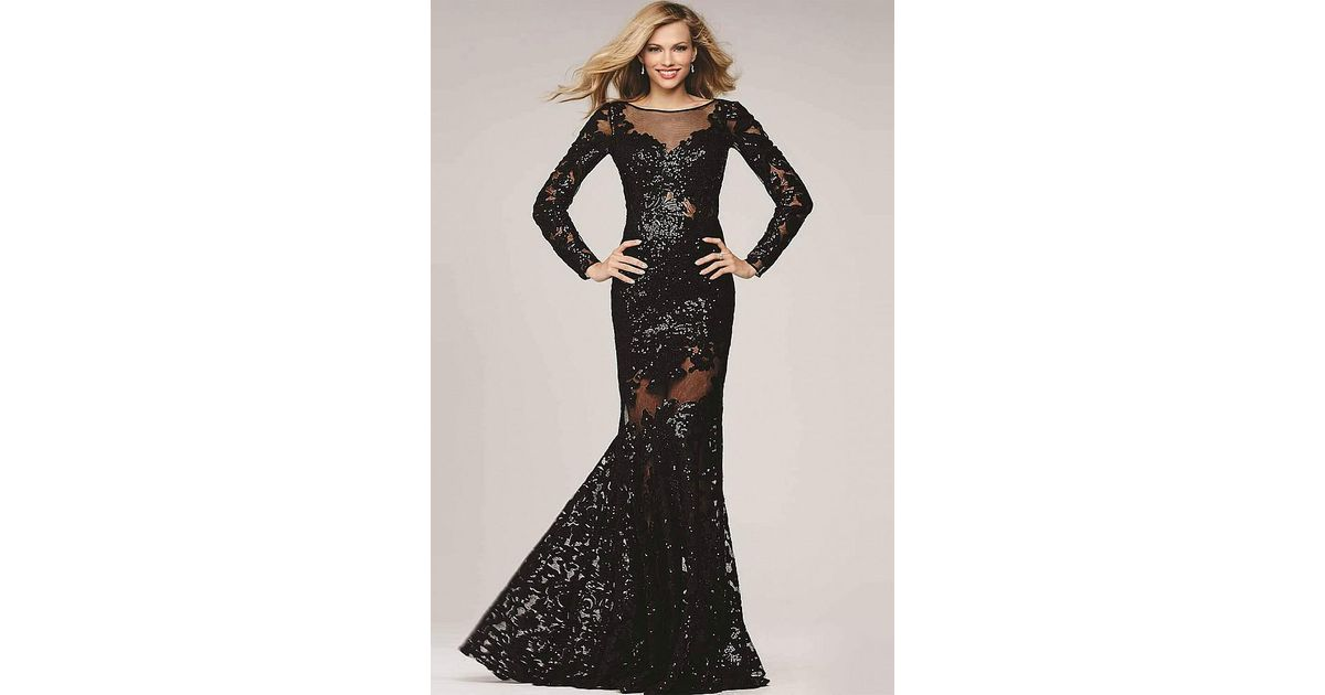 4322ccb1c052 Lyst - Jovani Sequined Long Sleeve Illusion Bateau Neck Trumpet Dress 32607  in Black