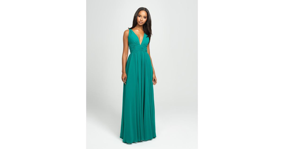 ecfa2bd42b53 Lyst - Madison James 19-193 Plunging Neck Empire Waist Chiffon A-line Gown  in Green