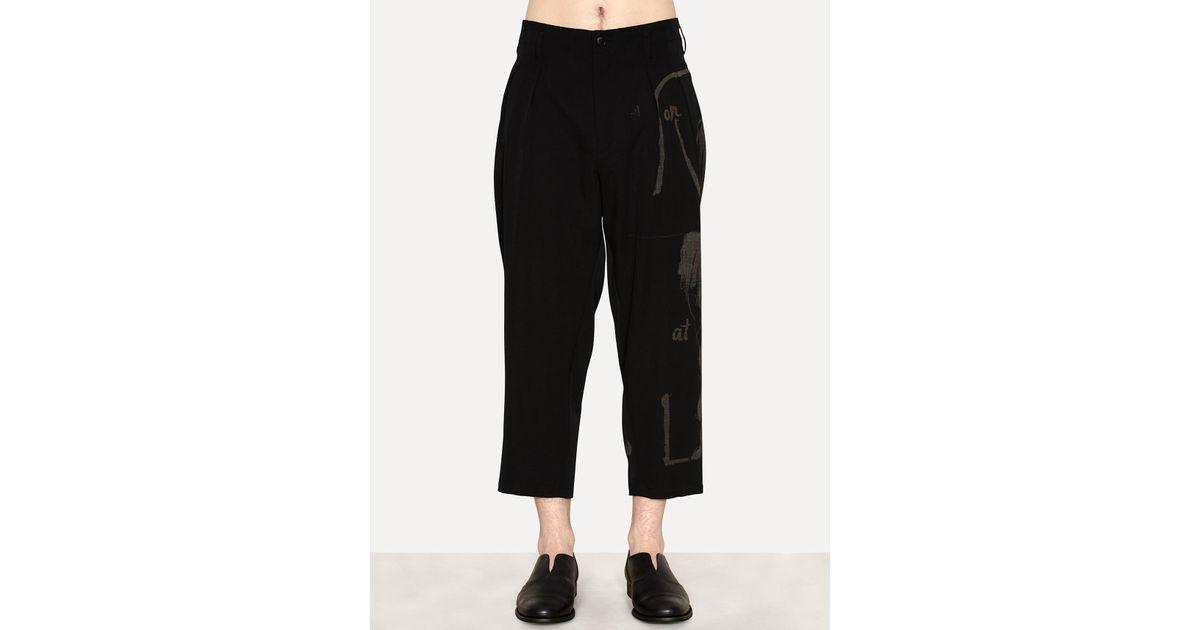 9aa0ec79022 Lyst - Yohji Yamamoto Wool Gabardine Suspender Pant Print in Black for Men