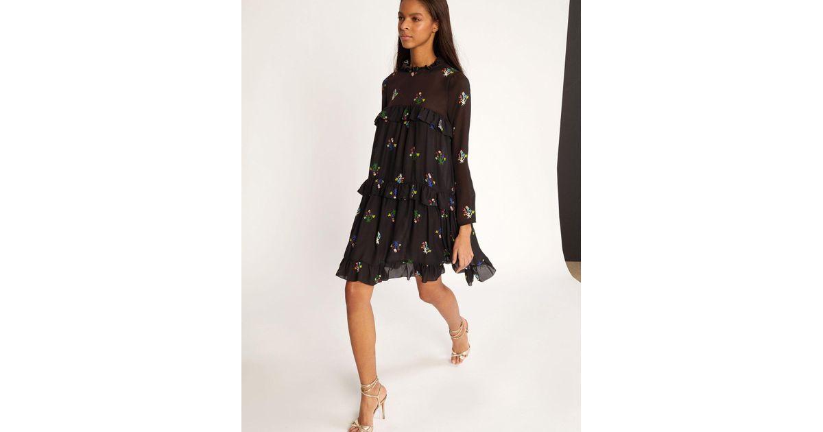 1c25f625f2f Cynthia Rowley High Tide Tiered Ruffle Knee Length Dress in Black - Lyst