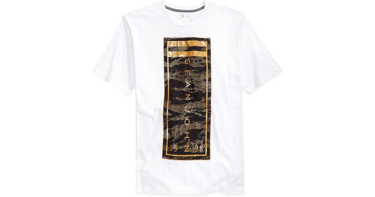Lyst sean john camo logo t shirt in white for men for Can you bleach white shirts with logos