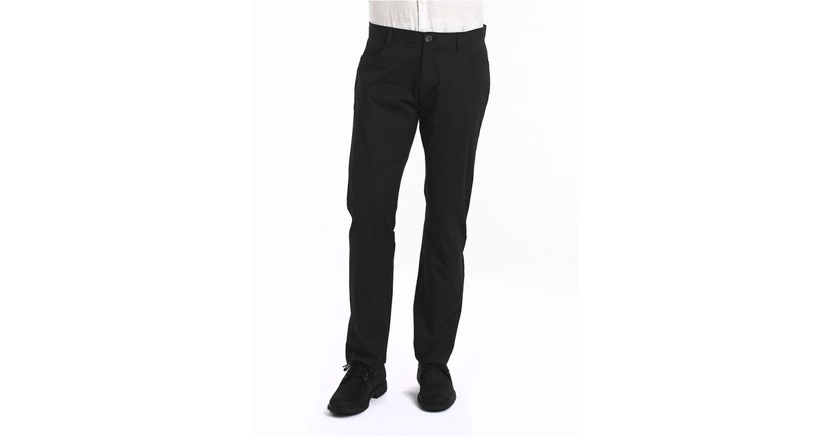 Calvin klein slim fit stretch pants in black for men lyst for Calvin klein slim fit stretch shirt