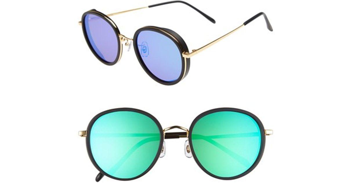 8a6395259904 Lyst - Gentle Monster 53mm Round Retro Sunglasses - Solid Black  Blue Mirror  in Purple