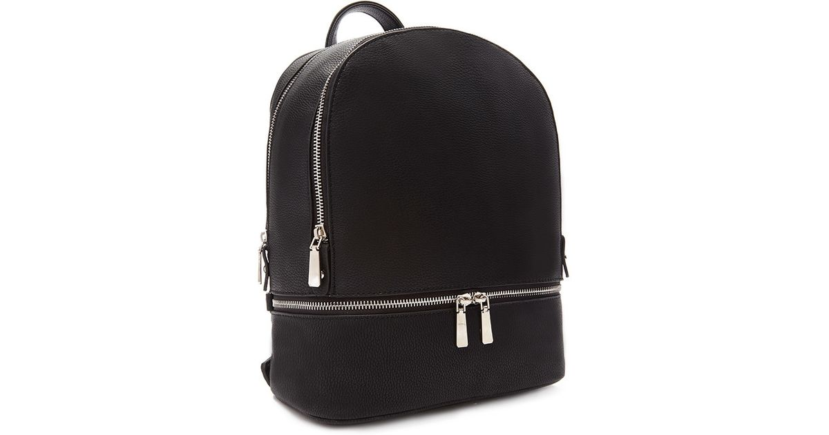 11bf00e0c837 Forever 21 Double Zipper Faux Leather Backpack in Black - Lyst