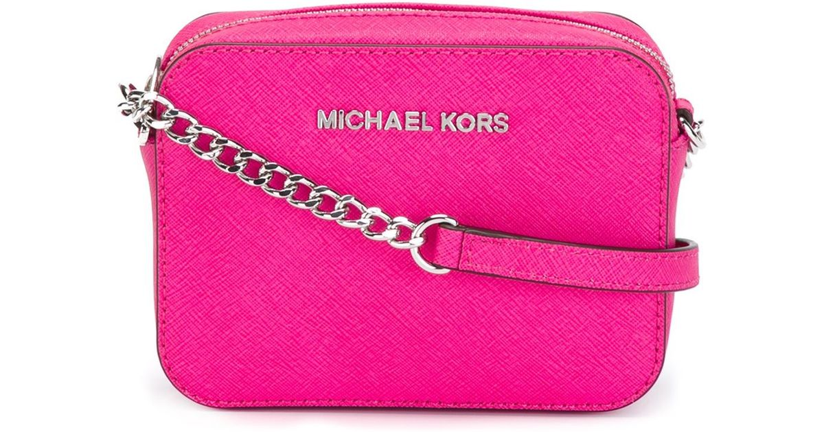 344d6ba3c3e0 Lyst - MICHAEL Michael Kors Jet Set Travel Mini Cross-Body Bag in Pink