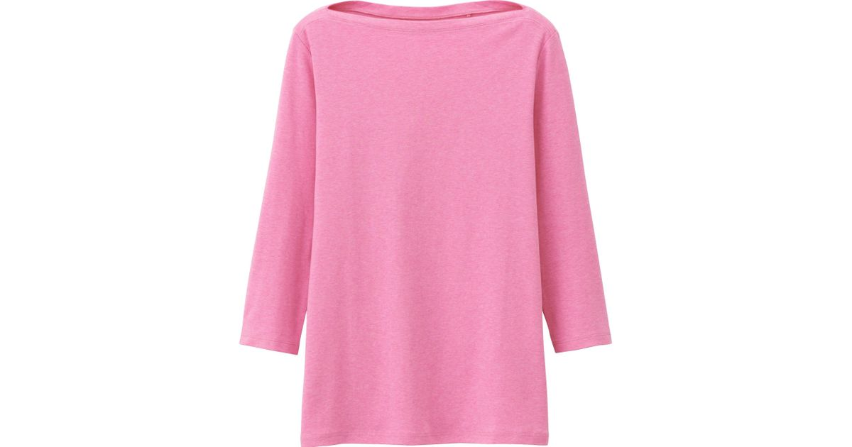 Uniqlo supima r cotton 3 4 sleeve boat neck t shirt in for Boat neck t shirt women s