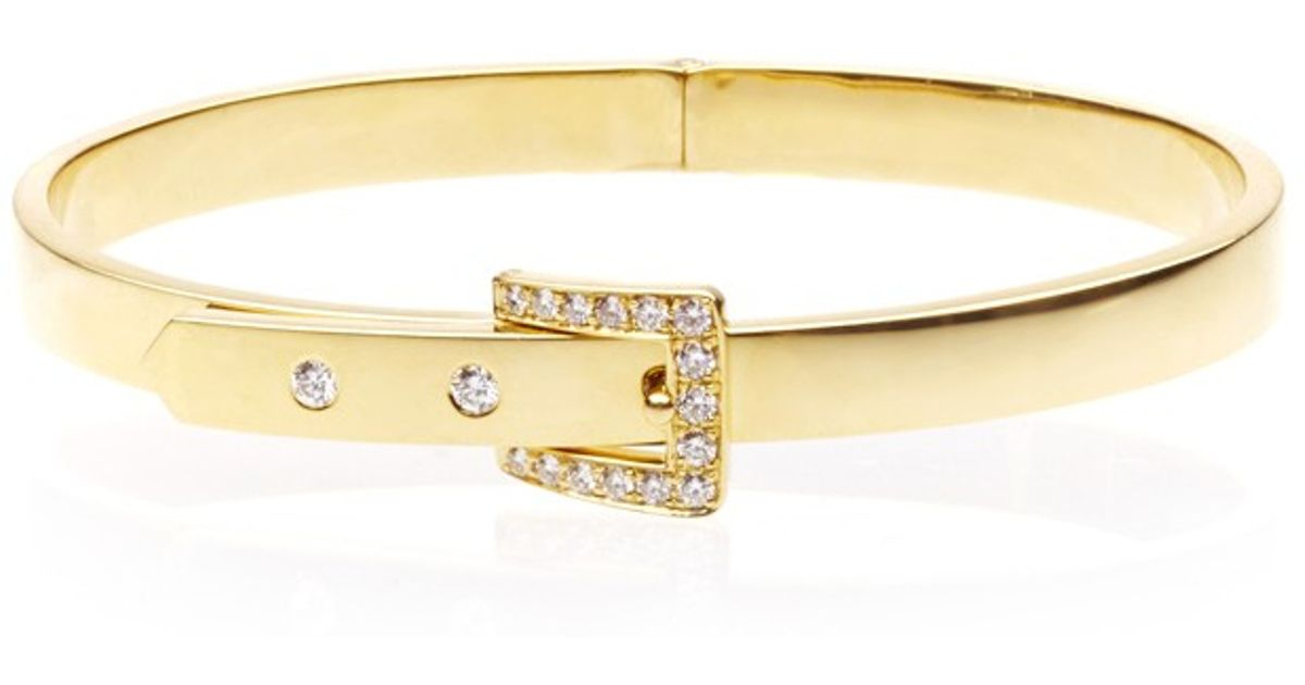 Lyst Sidney Garber 18k Yellow Gold Skinny Buckle Bracelet In Metallic