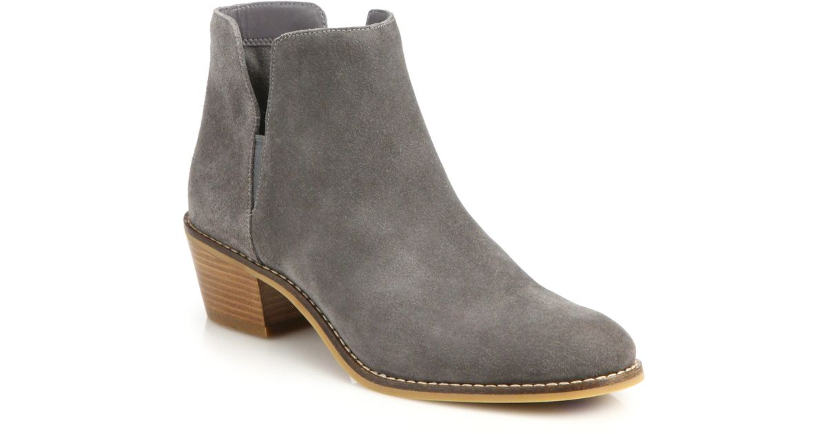 cole haan abbot suede booties in gray lyst