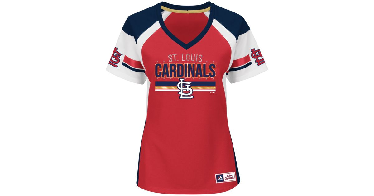 d9e92194973 Lyst - Majestic Women's St. Louis Cardinals Draft Me T-shirt in Red