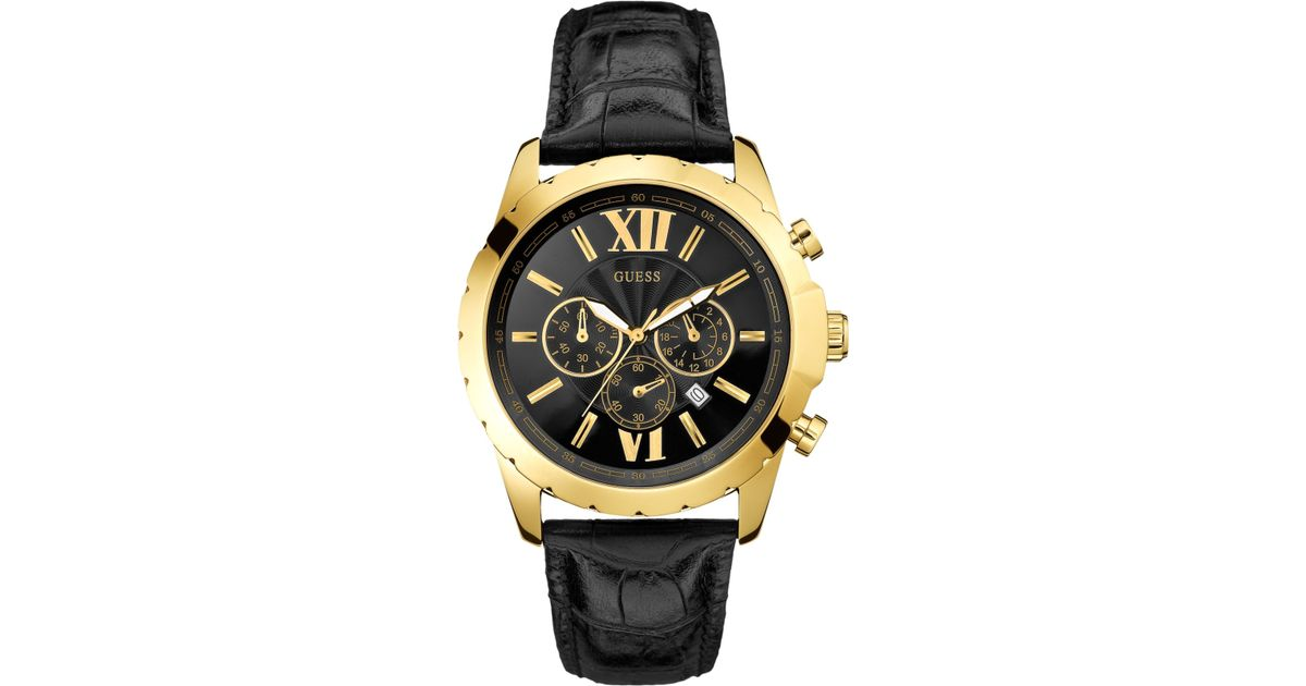 5892c64bf Guess Watch, Men'S Chronograph Black Leather Strap 45Mm U0270G1 in Metallic  for Men - Lyst