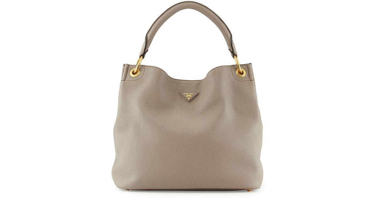 Lyst - Prada Vitello Daino Single-strap Hobo Bag in Gray 540943863256d