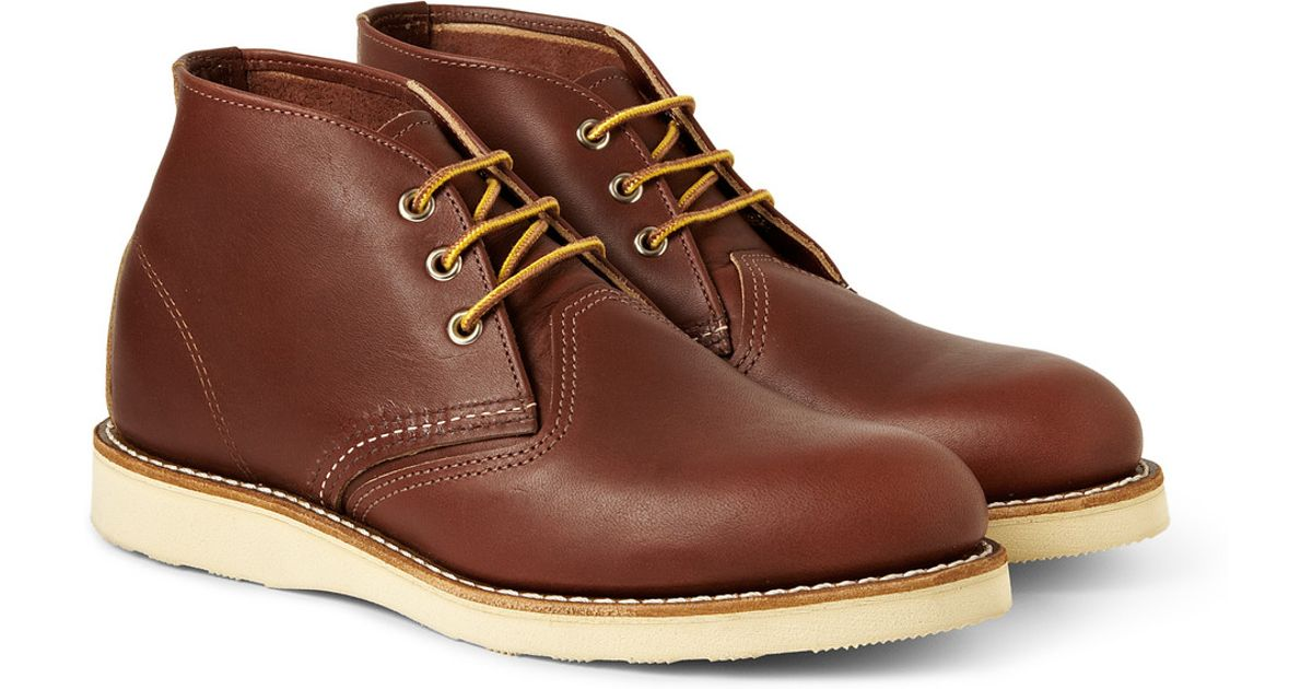 Red Wing Work Chukka Rubbersoled Leather Boots In Brown