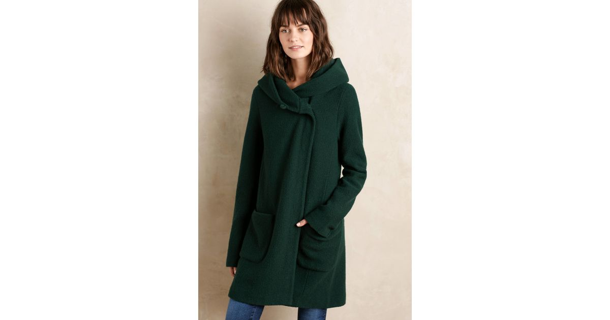 Moth Boiled Wool Sweater Coat in Green | Lyst
