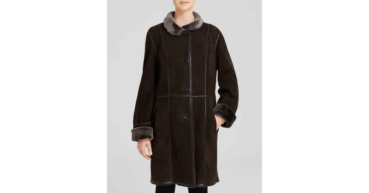 Maximilian Stand Collar Lamb Shearling Coat With Leather Trim in ...