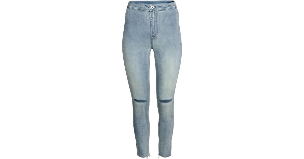 cac97500d H&M Skinny High Ankle Ripped Jeans in Blue - Lyst