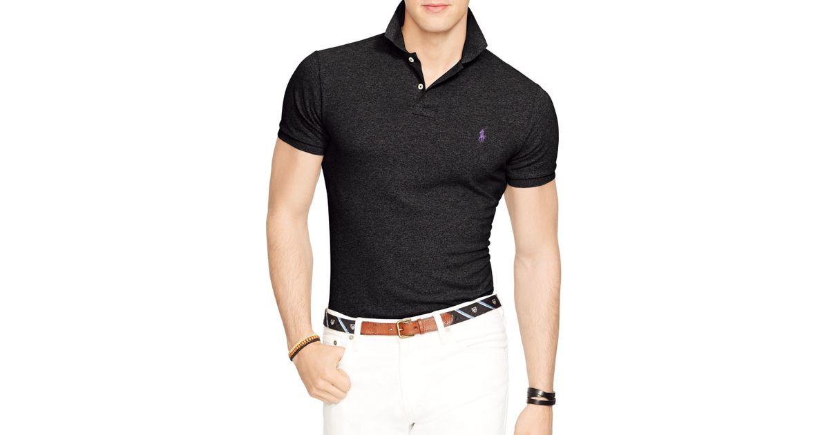 58dc7db7 Ralph Lauren Polo Slim-fit Mesh Polo Shirt in Black for Men - Lyst
