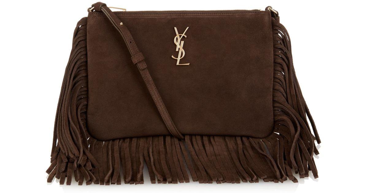 658e4e0e19 Lyst - Saint Laurent Monogram Fringed Suede Cross-Body Bag in Brown
