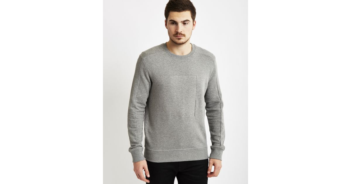 calvin klein jeans jaylon embossed sweatshirt grey in gray. Black Bedroom Furniture Sets. Home Design Ideas