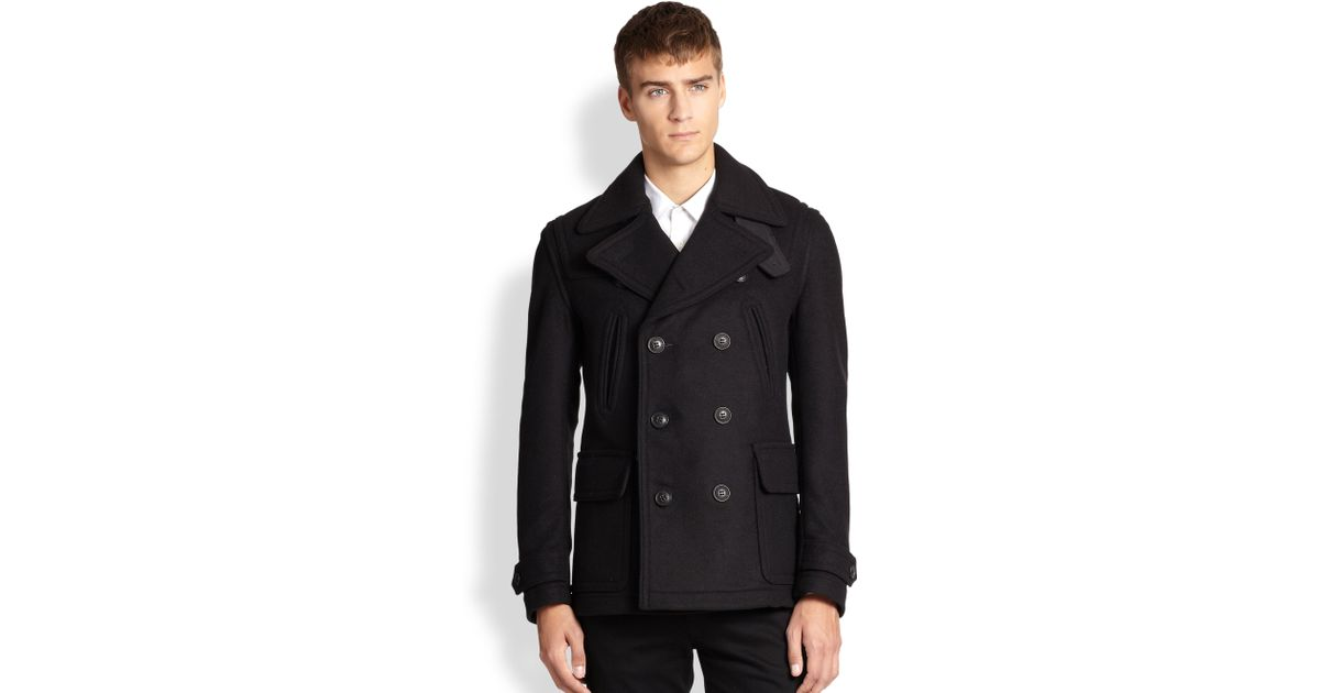 aa63c9980 Lyst - Burberry Brit Brantford Double-breasted Peacoat in Black for Men