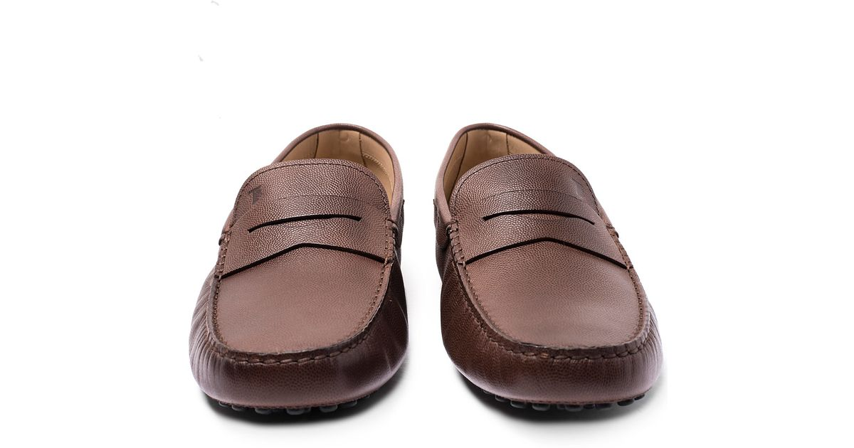 ddc3bfe16d3 Lyst - Tod s Brown Gommino Leather Penny Loafer Driving Shoes in Brown for  Men