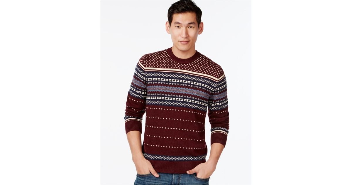 Tommy hilfiger Omar Fair Isle Sweater in Red for Men | Lyst