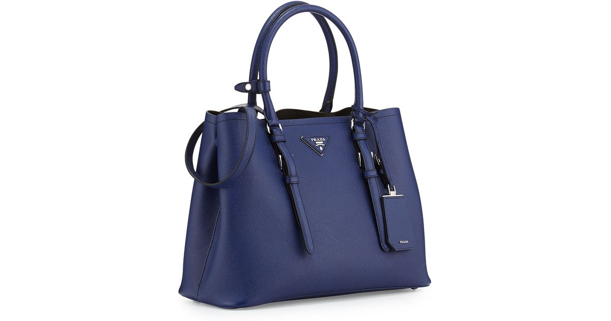 ... uk lyst prada saffiano cuir covered strap double bag in blue 109ef  95aa1 amazon navy ...