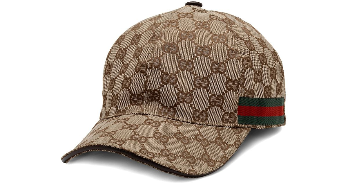 Lyst - Gucci Canvas Baseball Hat in Brown for Men 1b365ea35a0