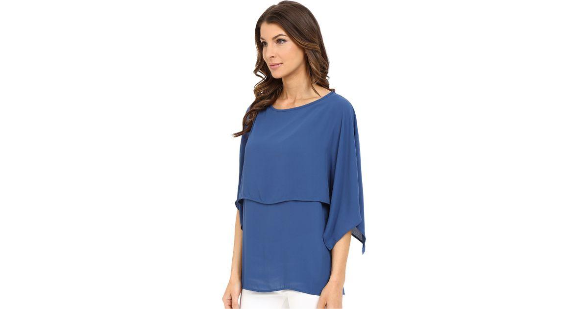 82c3c96013f1f Lyst - Karen Kane Double Layer Top in Blue