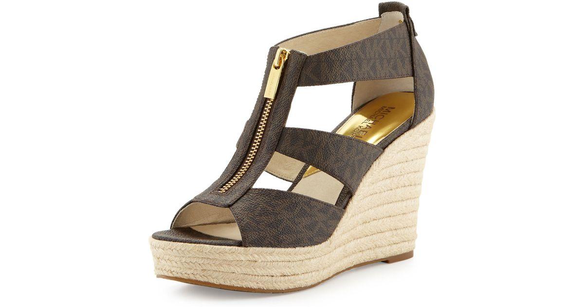 a792ded3240 Lyst - MICHAEL Michael Kors Damita Logo Zipper Wedge Sandals in Brown