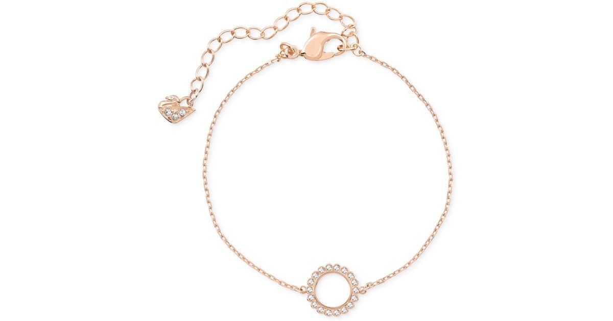 e35d09419 Swarovski Rose Gold-tone Crystal Circle Bracelet in Pink - Lyst