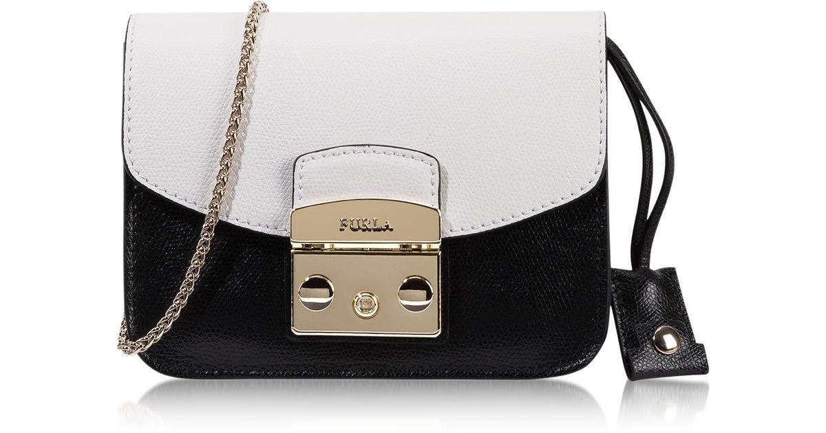 a993ea5970b3 Lyst - Furla Metropolis Chalk   Onyx Leather Mini Crossbody Bag in White