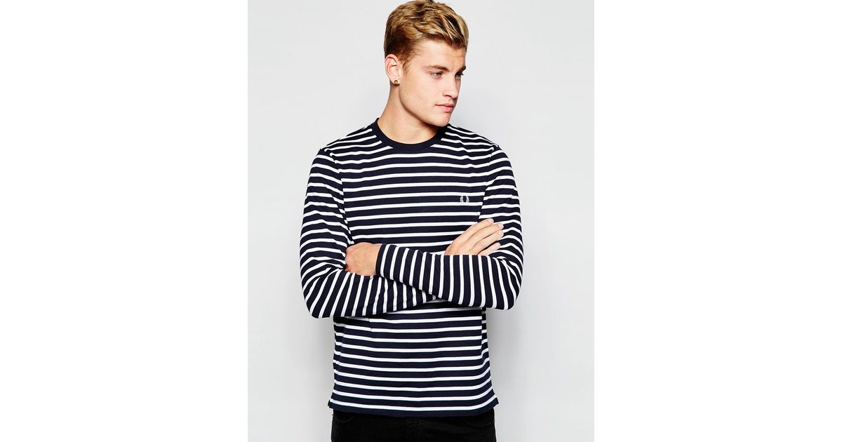 Top Sleeve In Navy Perry Lyst Stripe For Men Long Blue Fred Breton rxhdCstQ